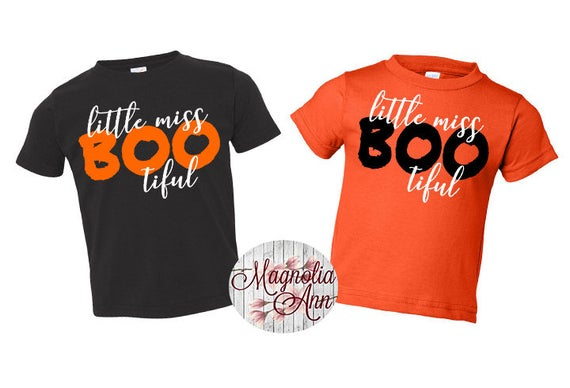 Little Miss Bootiful, Beautiful, Ghost, Halloween, Toddler T-Shirt in 11 Different Colors in Sizes 2T-5/6