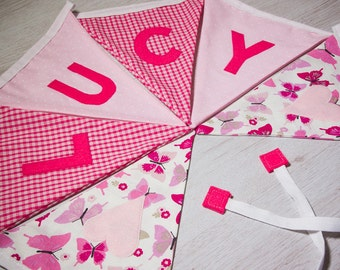 Classic Baby Girl Bunting - Personalised Name Banner - Nursery Flag Bunting