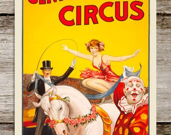 1930's Gentry Brothers Antique Circus Poster Reproduction Print from Curious London