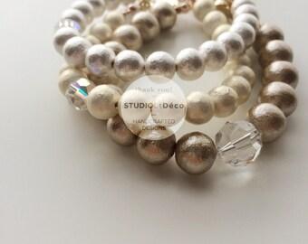 Bracelet: Classic Cotton Pearl Bracelet - B005 - Cotton Pearl (Jasmine) 8mm, Czech Crystal (Clear)