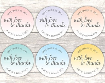Wedding stickers - Wedding favor labels - Wedding thank you stickers - Bridal shower stickers (RW108)