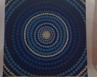 Shades of blue dot art