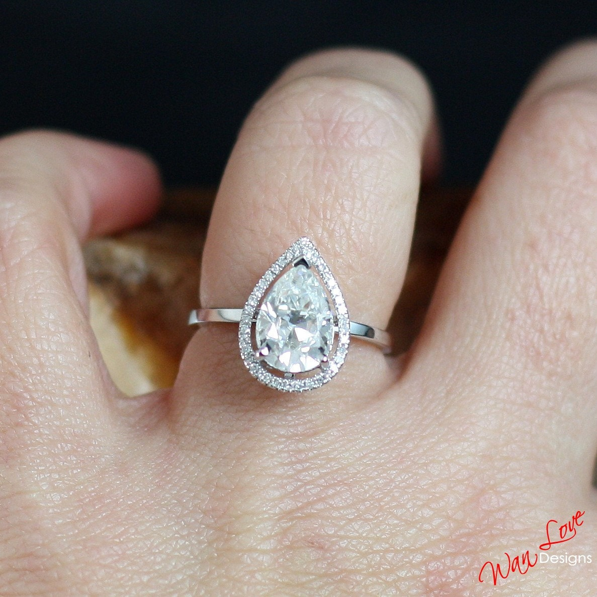 f1 moissanite diamond def pear halo engagement ring plain. Black Bedroom Furniture Sets. Home Design Ideas