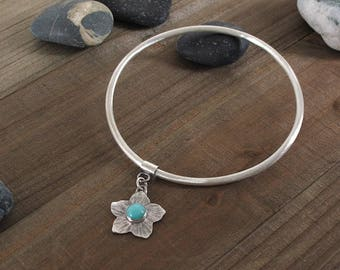Amazonite and Sterling Silver Charm Bangle, Made To Order In Your Size, Oxidized Silver, Boho Style Bracelet with Flower Charm