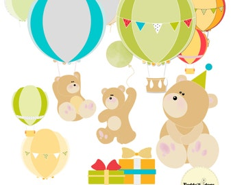 Birthday bear clip art, Hot air balloon clipart
