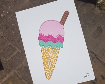 Ice Cream - A5 print taken from original textile artwork - 300gsm