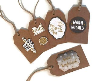 pack of 5 - christmas present tag, gift tag, present tag, christmas tag, holiday gifts, holiday gift tag