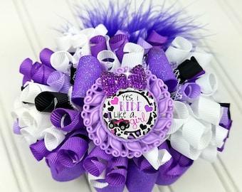 Funky Loopy Bow - Ride Like a Girl - Purple Theme - READY TO SHIP