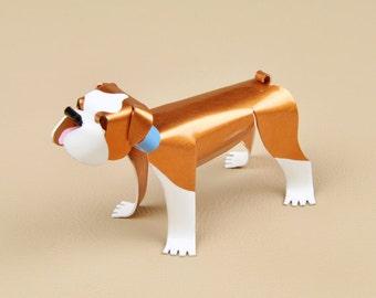 "English Bulldog Sculpture 1.5"" tall x 3"" long Handmade Copper Miniature Collectible Art, English Bulldog Art, English Bulldog Figurine"