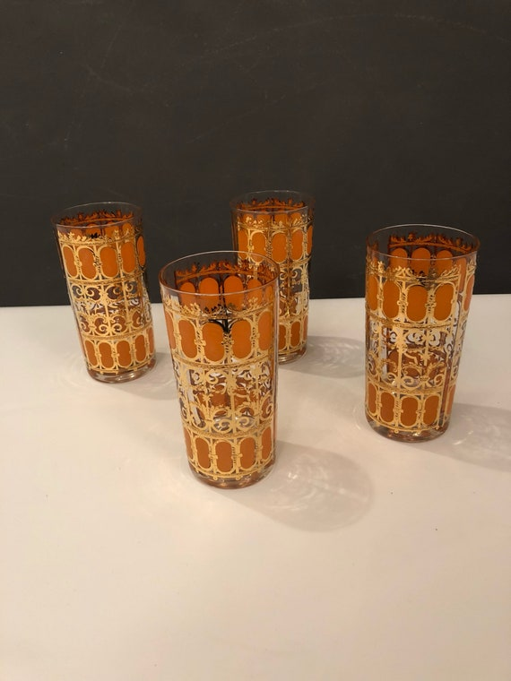 Mid-Century set of 4 cocktail glasses by CULVER Co with beautiful gold & Orange colors.