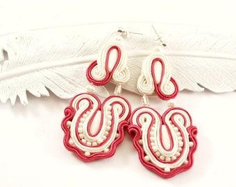 Big soutache ivory and burgundy earrings