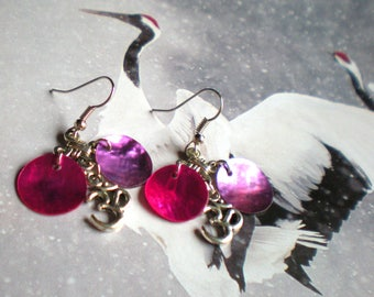 """LOOP Earring """"Pink Pearl and OHM"""" Silver Chinese knot ring"""