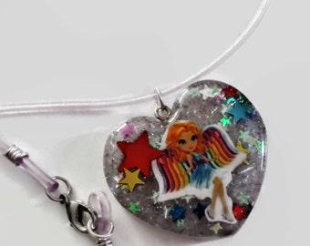 Rainbow Angel Necklace, Lisa Frank, Heart Shaped Resin Pendant charm