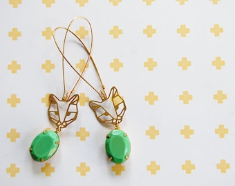 cat lady bling brass dangle geometric animal earrings with vintage facet green stone - gold plated