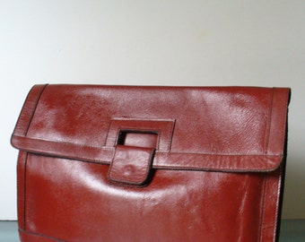 Vintage  Oxblood Large Clutch