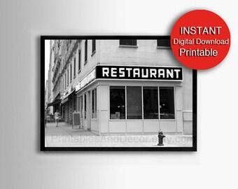 Printable Seinfeld Art Black and Tom's Restaurant New York Photography 11x14 8x10 A4