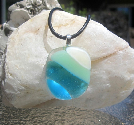 Fused glass necklace ocean beach glass pendant turquoise aloadofball Images