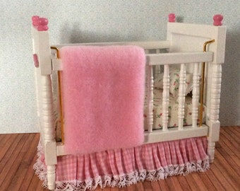 Miniature One Inch Scale Pink Crib