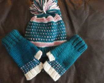 Hand Knit Hat with Fingerless Gloves