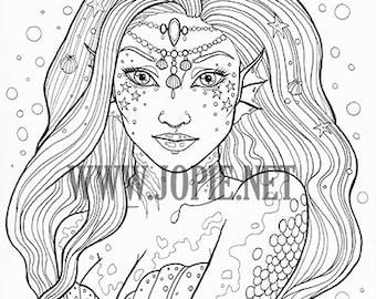 Undina Mermaid Coloring Page