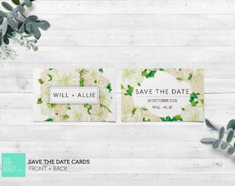 Printed Save the Date Cards | Spring Floral Wedding Stationery | White Floral Bouquet