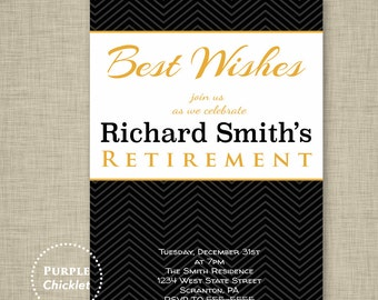 Best Wishes Invite Farewell Invite Gold Black Retirement Party Invitation Masculine Birthday Invite Printable Adult Invite 5x7 file 4