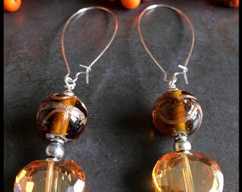 Lampwork bead earrings gold and orange, drop earrings, mothers day gift, gift for her, birthday present