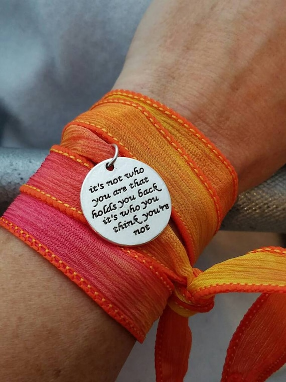 Silk Ribbon Wrist Wrap, CrossFit Jewelry, Sports Charm Bracelet, Fitness Team Coach Gift,  Motivational Inspirational Strength Word Quote