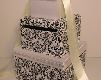 Wedding Card Box Damask ,white and Ivory Gift Card Box Money Box Holder--Customize your color
