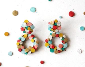 Rainbow Confetti Earrings, Leather Statement Earrings,  Donut Earrings, Colourful Earrings, Sustainable Earrings, Japanese Earrings