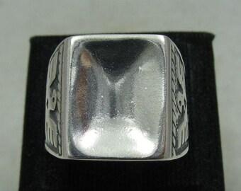 Sterling silver  solid 925 men ring eagle pendant