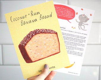 Coconut & Rum Banana Bread 5x7 Recipe Card feat. Clementine The Baker Cat
