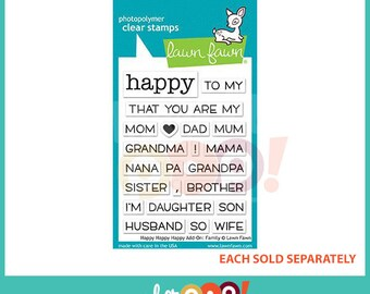 Lawn Fawn Clear Stamp Set - Happy Happy Happy Add-On: Family