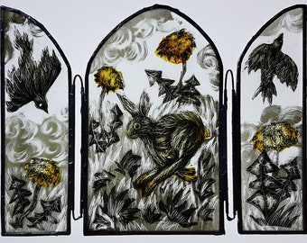 Hare triptych, painted glass, stained glass, glass ornament, free-standing, crows, pagan, altarpiece, copper foil, running hare, nature gift