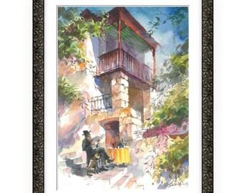Fresh Newspaper, Wonderful Watercolor,Amazing watercolor, easel watercolor,drawing watercolor, recognized master,Original painting, Zelik