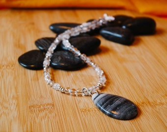 Grey Marble and Glass Bead Necklace