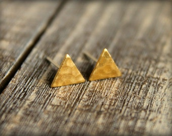 Hammered Triangle Earring Studs, Available in Raw Brass or Silver Plated Brass, Stainless Steel Posts, Great for Sensitive Ears