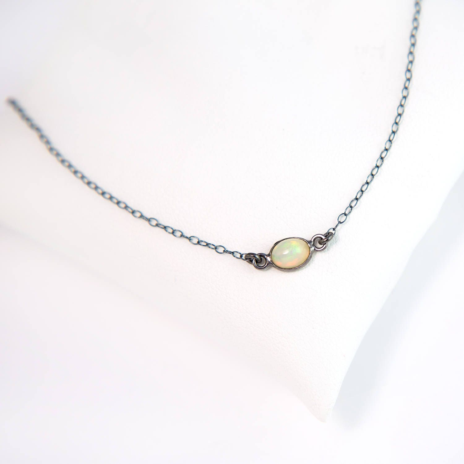 vintage genuine jewelry real tone necklace nos pendant pin gold birthstone shaped october oval metal opal