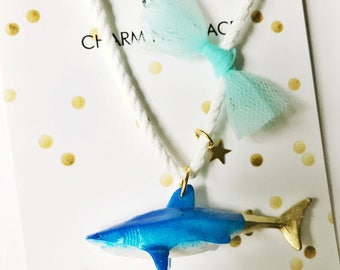 Shark Necklace. Kids Shark Necklace. Kids Nautical Jewelry. Girls Shark Necklace. Boys Necklace. Kids Nautical Necklace. Kids Charm Necklace