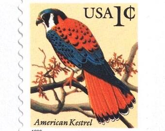 10 Unused Vintage American Kestrel Stamps // Vintage 1 Cent Bird Postage Stamps for Mailing