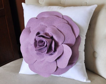 Lilac Rose on White Pillow, Flower Pillow