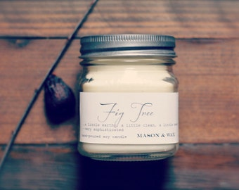Fig Tree Mason Jar Soy Candle | Gift Ready | Phthalate Free | Spring Summer Candle