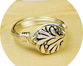 Sale! Leaf Ring - Wire Wrapped with Round Silver Plated Leaf Bead - Any Size- Size 4, 5, 6, 7, 8, 9, 10, 11, 12, 13, 14