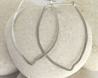 14K White Gold or Silver Flower Petal Hoops - sterling silver or white gold leaf earrings