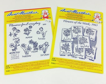 Flowers of the Week & Flowers for Everyday Aunt Martha's Hot Iron Transfers UNCUT Patterns
