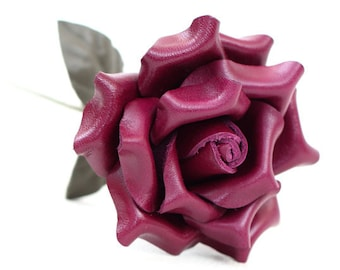 Violet leather rose third Anniversary wedding gift Long Stem leather flower Valentine's Day 3rd Leather Anniversary Mother's Day Prom