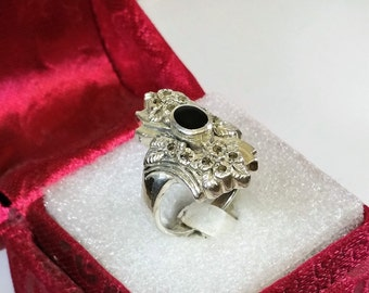 18.5 mm Silver 925 ring Onyx Markasiten old SR762