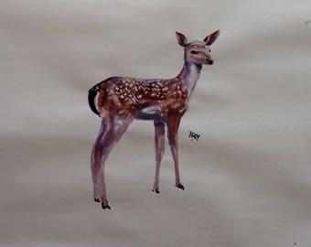 Deer ink drawing, painting on paper