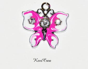 5 x pink white enameled Butterfly rhinestone silver plated charms