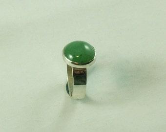 Silver ring with Aventurine gemstone 12 mm Size 16.5
